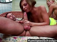 HumiliatedSchoolGirls  Two horny students open their holes for a pair of hard dicks